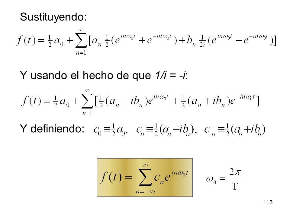 Sustituyendo: Y usando el hecho de que 1/i = -i: Y definiendo: