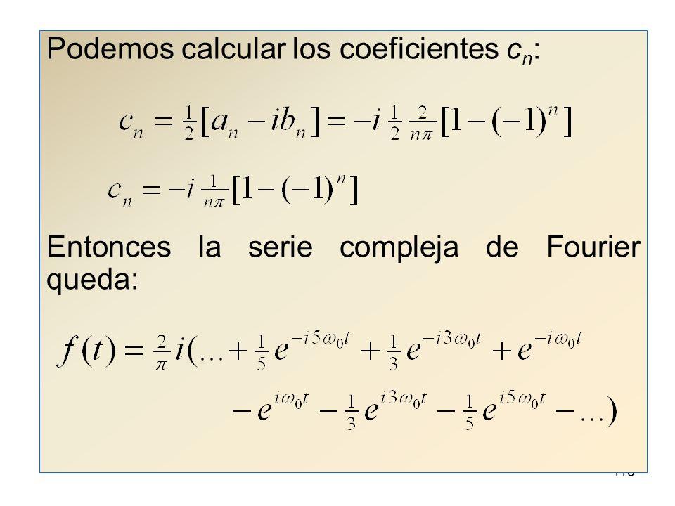 Podemos calcular los coeficientes cn: