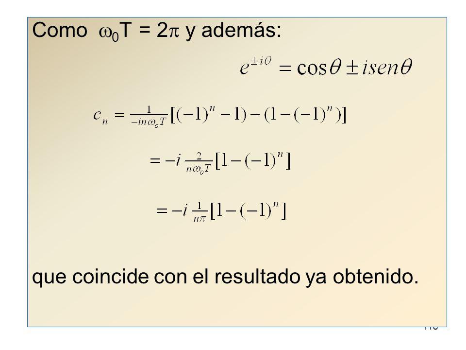 Como w0T = 2p y además: que coincide con el resultado ya obtenido.