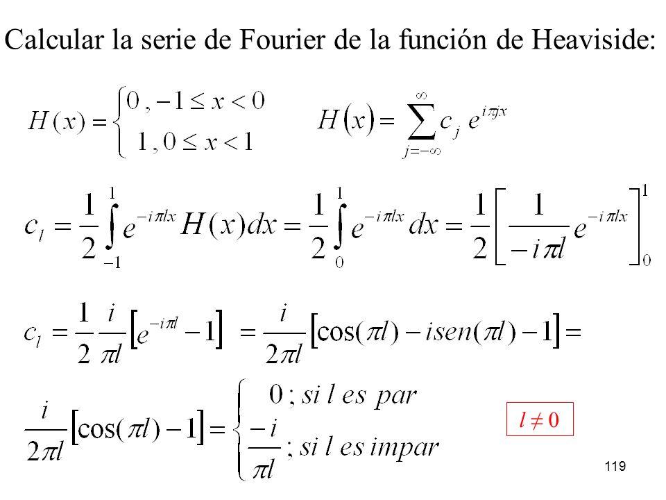 Calcular la serie de Fourier de la función de Heaviside: