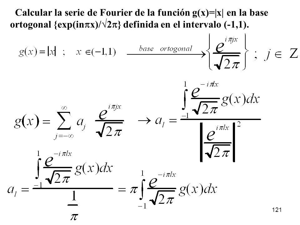 Calcular la serie de Fourier de la función g(x)=|x| en la base