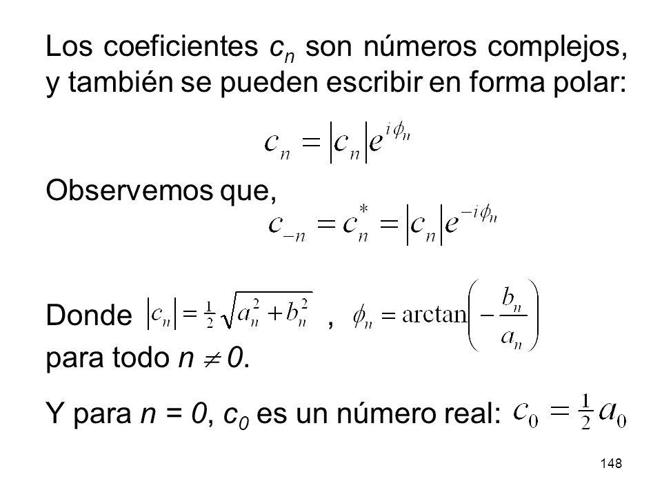 Los coeficientes cn son números complejos, y también se pueden escribir en forma polar: