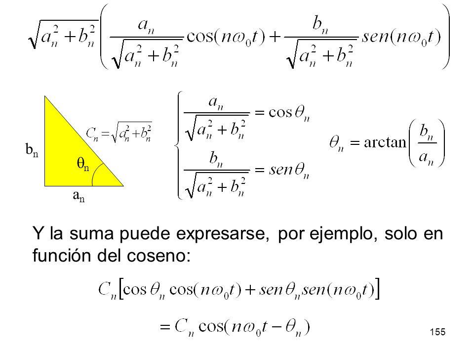 Y la suma puede expresarse, por ejemplo, solo en función del coseno:
