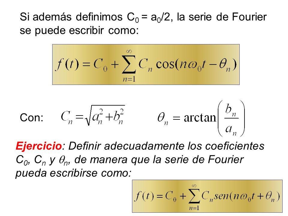 Si además definimos C0 = a0/2, la serie de Fourier se puede escribir como: