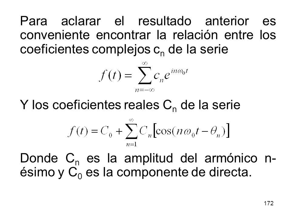 Para aclarar el resultado anterior es conveniente encontrar la relación entre los coeficientes complejos cn de la serie