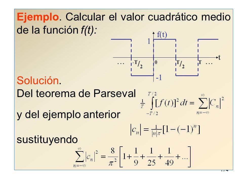 Ejemplo. Calcular el valor cuadrático medio de la función f(t):