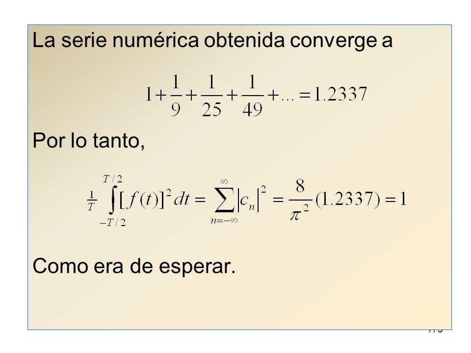 La serie numérica obtenida converge a