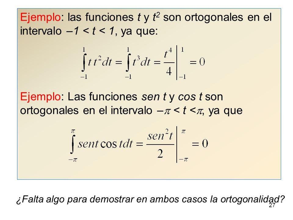 Ejemplo: las funciones t y t2 son ortogonales en el intervalo –1 < t < 1, ya que: