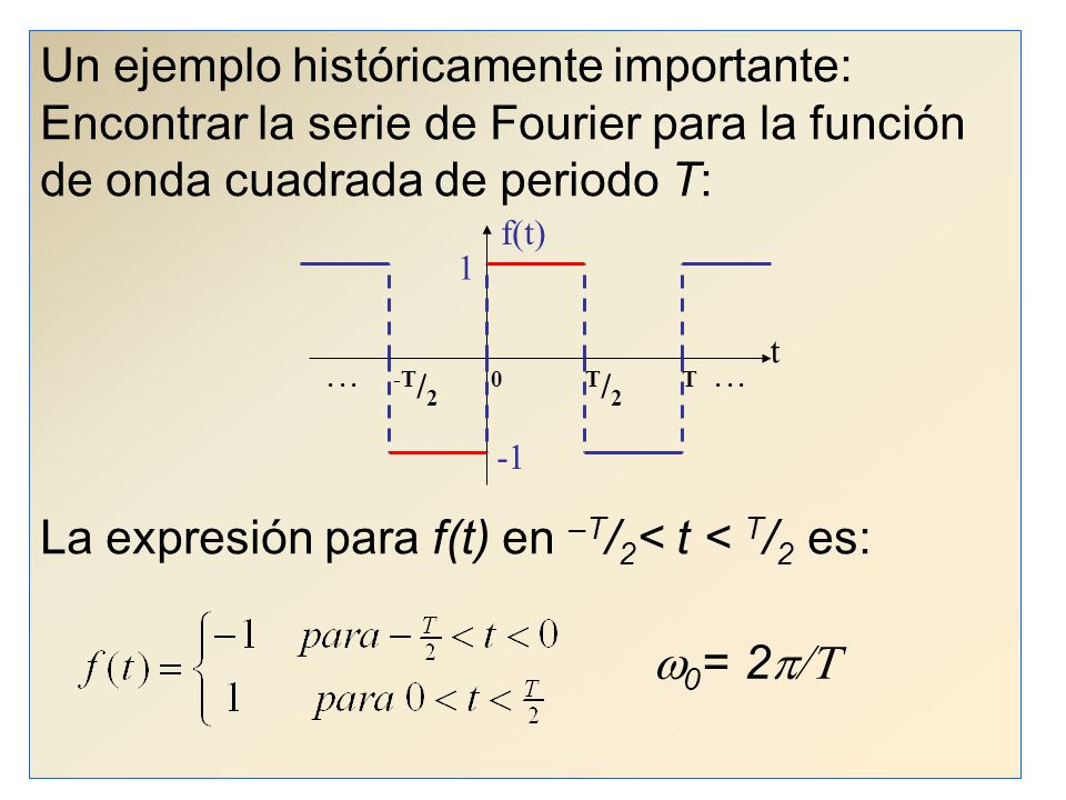 La expresión para f(t) en –T/2< t < T/2 es: