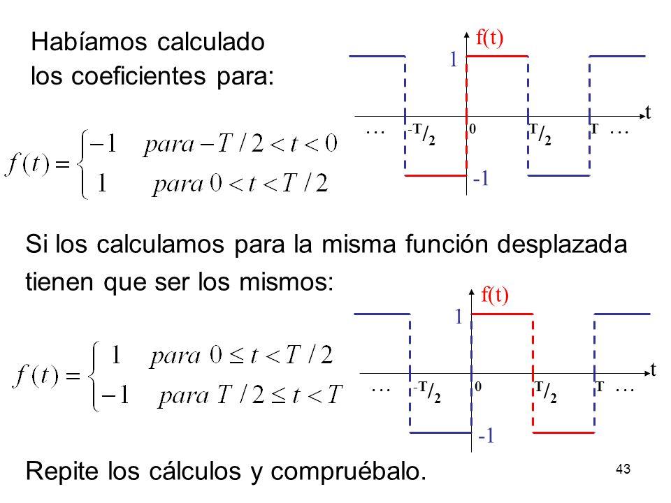 los coeficientes para: