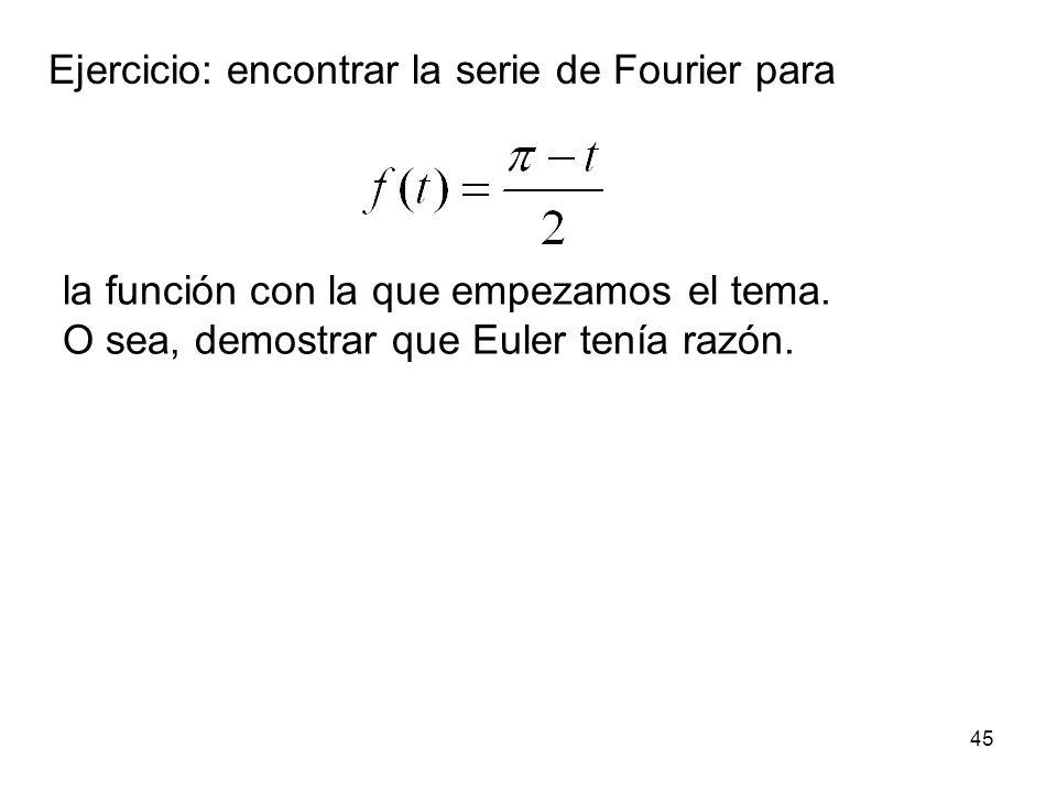 Ejercicio: encontrar la serie de Fourier para