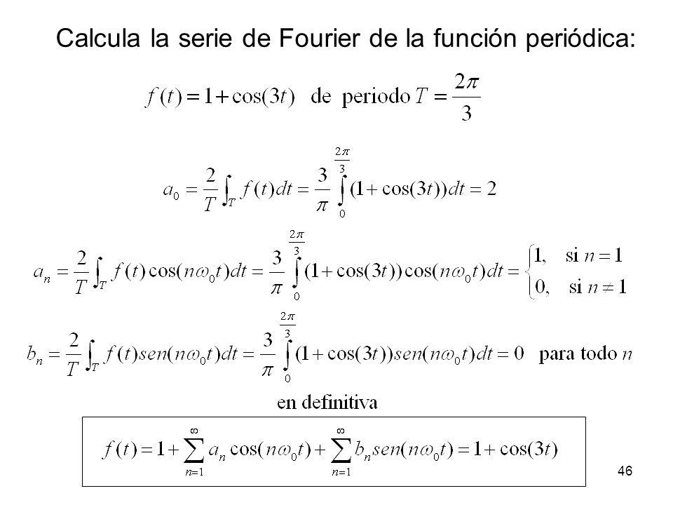 Calcula la serie de Fourier de la función periódica: