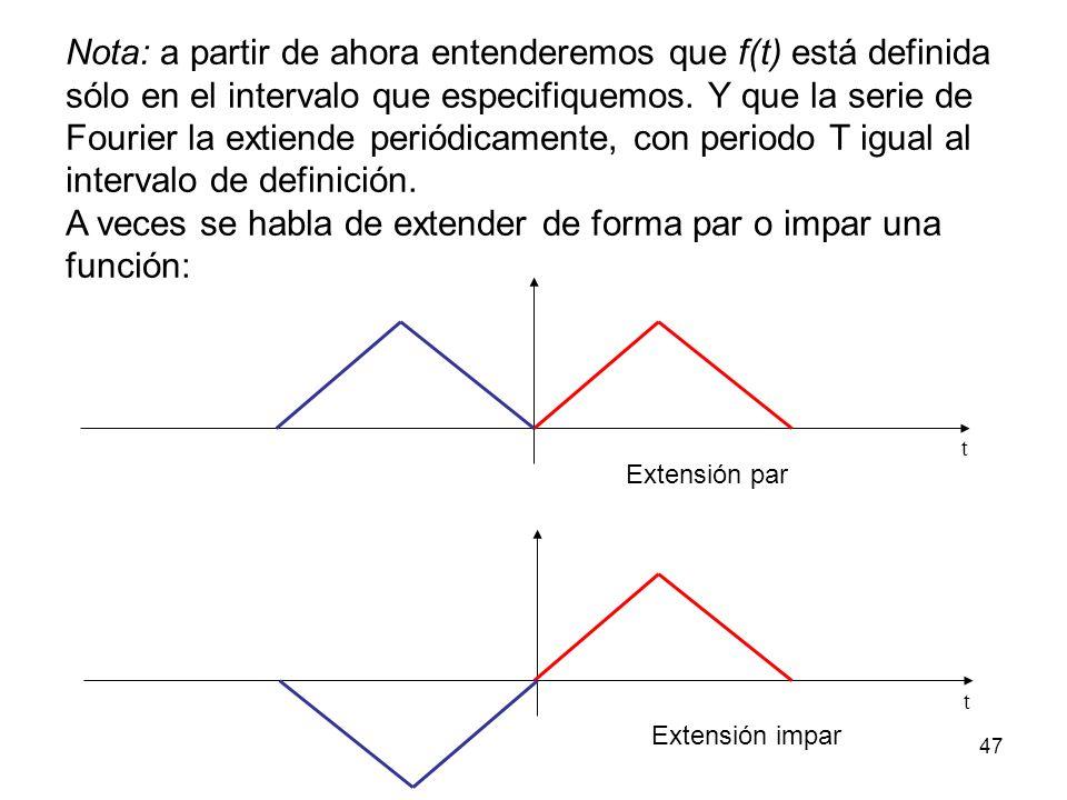 A veces se habla de extender de forma par o impar una función: