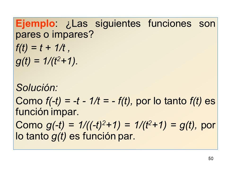 Ejemplo: ¿Las siguientes funciones son pares o impares