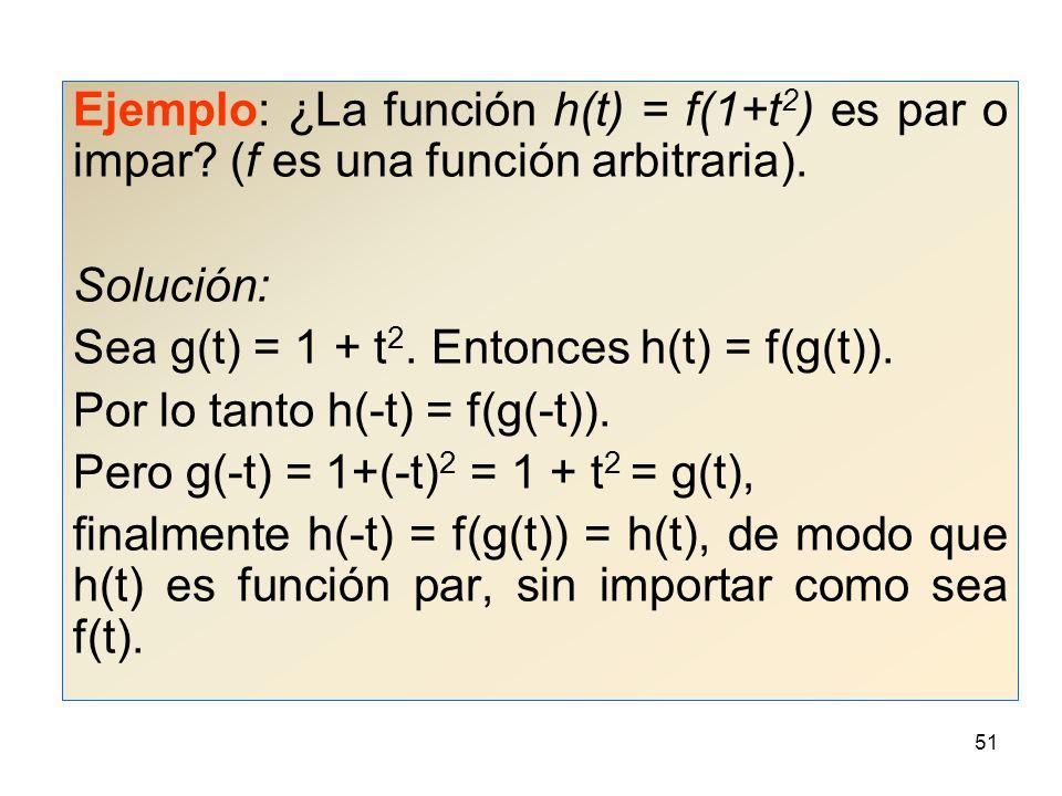 Ejemplo: ¿La función h(t) = f(1+t2) es par o impar