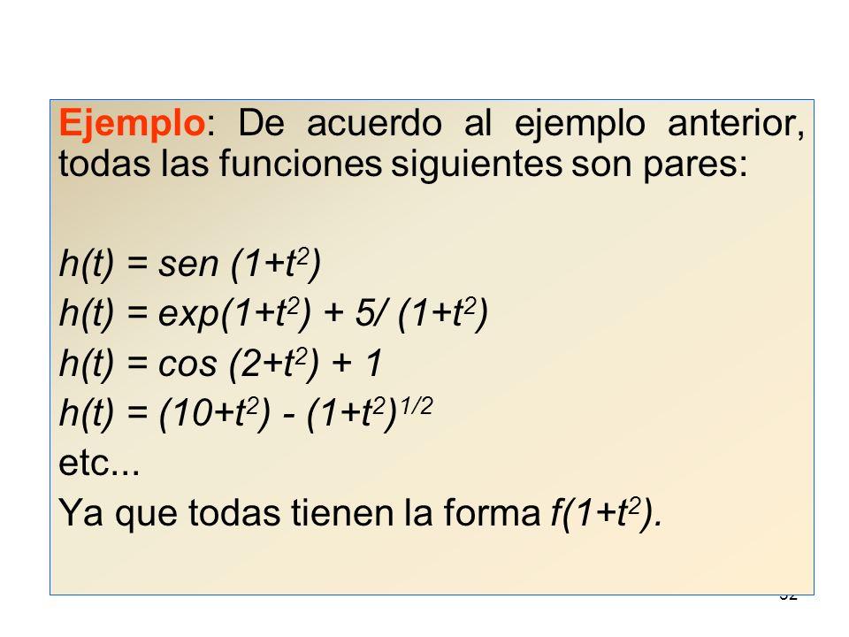 Ejemplo: De acuerdo al ejemplo anterior, todas las funciones siguientes son pares: