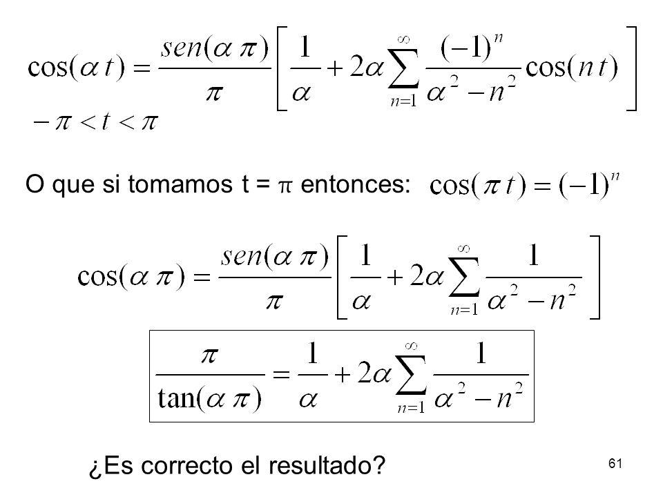 O que si tomamos t = π entonces: