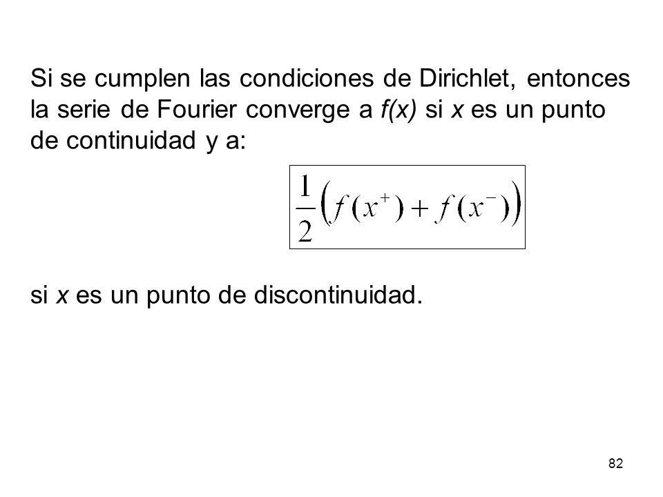 Si se cumplen las condiciones de Dirichlet, entonces la serie de Fourier converge a f(x) si x es un punto de continuidad y a: