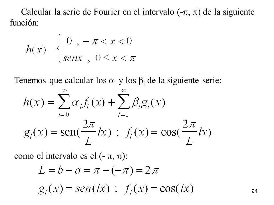 Calcular la serie de Fourier en el intervalo (-p, p) de la siguiente