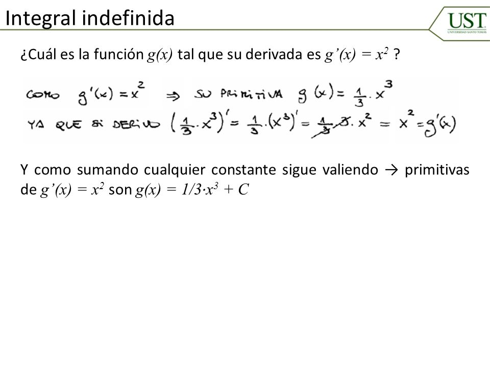 Integral indefinida ¿Cuál es la función g(x) tal que su derivada es g'(x) = x2