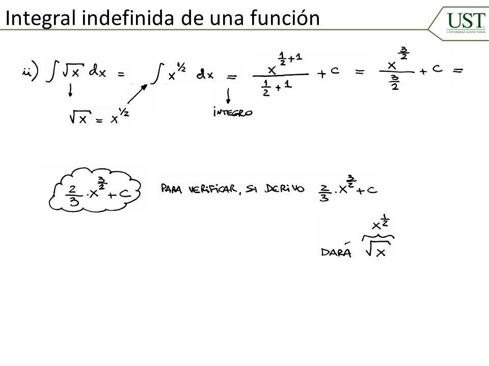 Integral indefinida de una función