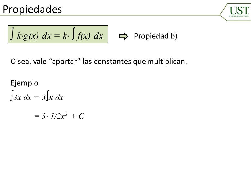 ∫ k∙g(x) dx = k∙ ∫ f(x) dx Propiedades ∫3x dx = Propiedad b)