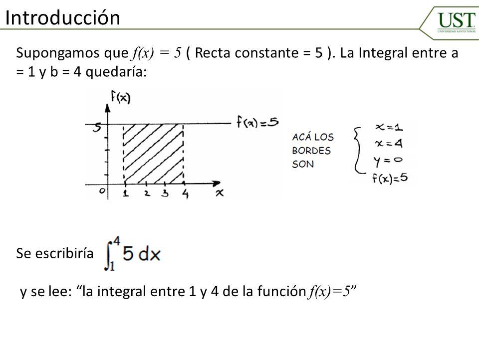 Introducción Supongamos que f(x) = 5 ( Recta constante = 5 ). La Integral entre a = 1 y b = 4 quedaría: