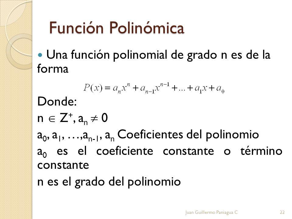 Función Polinómica Una función polinomial de grado n es de la forma