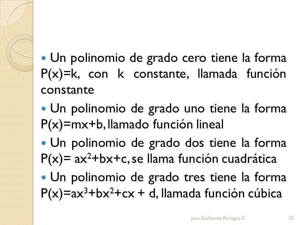 Un polinomio de grado cero tiene la forma P(x)=k, con k constante, llamada función constante