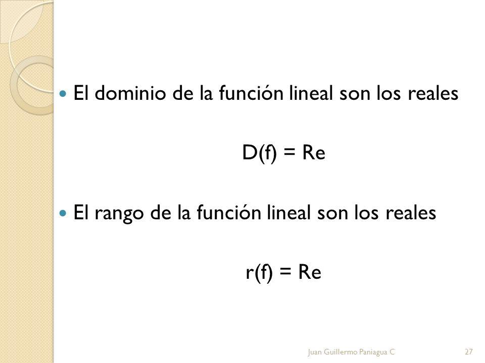 El dominio de la función lineal son los reales D(f) = Re