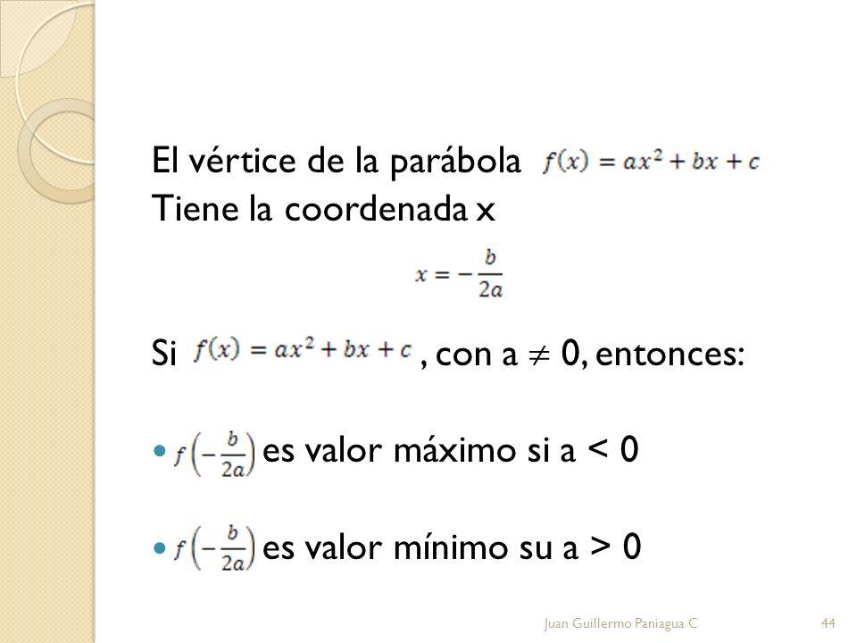 El vértice de la parábola Tiene la coordenada x