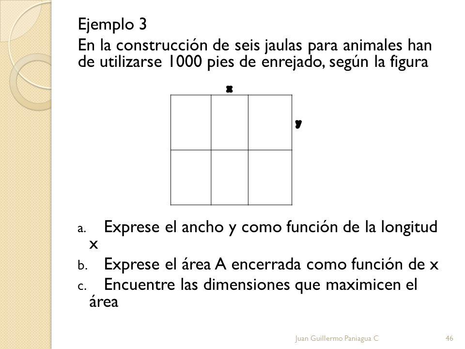 Exprese el ancho y como función de la longitud x