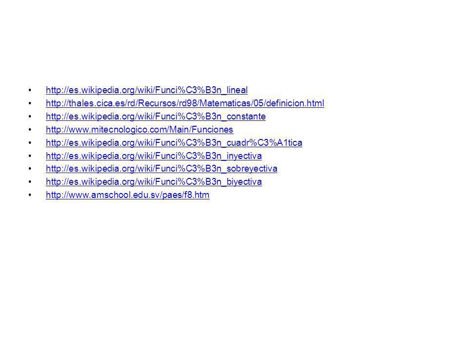 http://es.wikipedia.org/wiki/Funci%C3%B3n_lineal http://thales.cica.es/rd/Recursos/rd98/Matematicas/05/definicion.html.