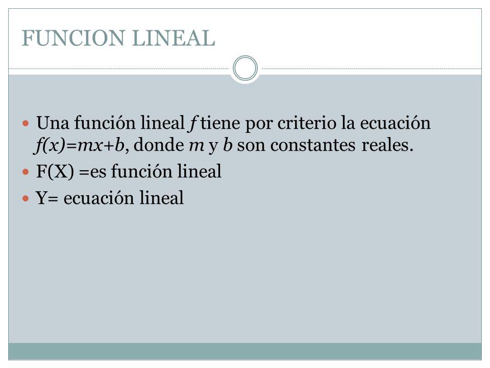 FUNCION LINEAL Una función lineal f tiene por criterio la ecuación f(x)=mx+b, donde m y b son constantes reales.