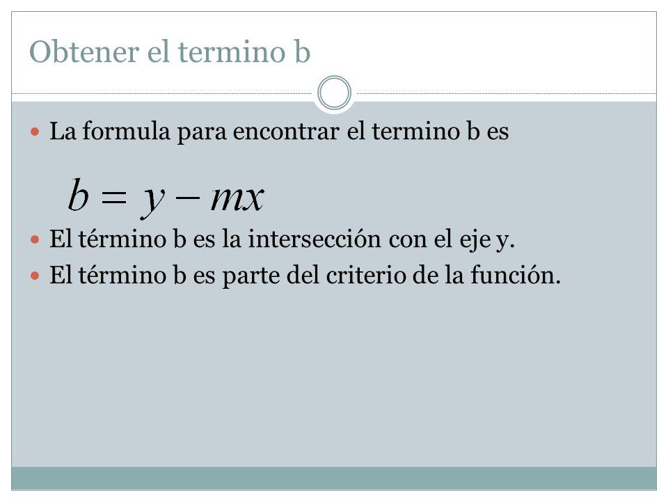 Obtener el termino b La formula para encontrar el termino b es