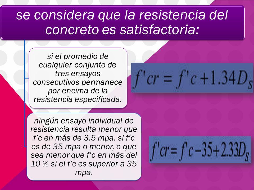 se considera que la resistencia del concreto es satisfactoria: