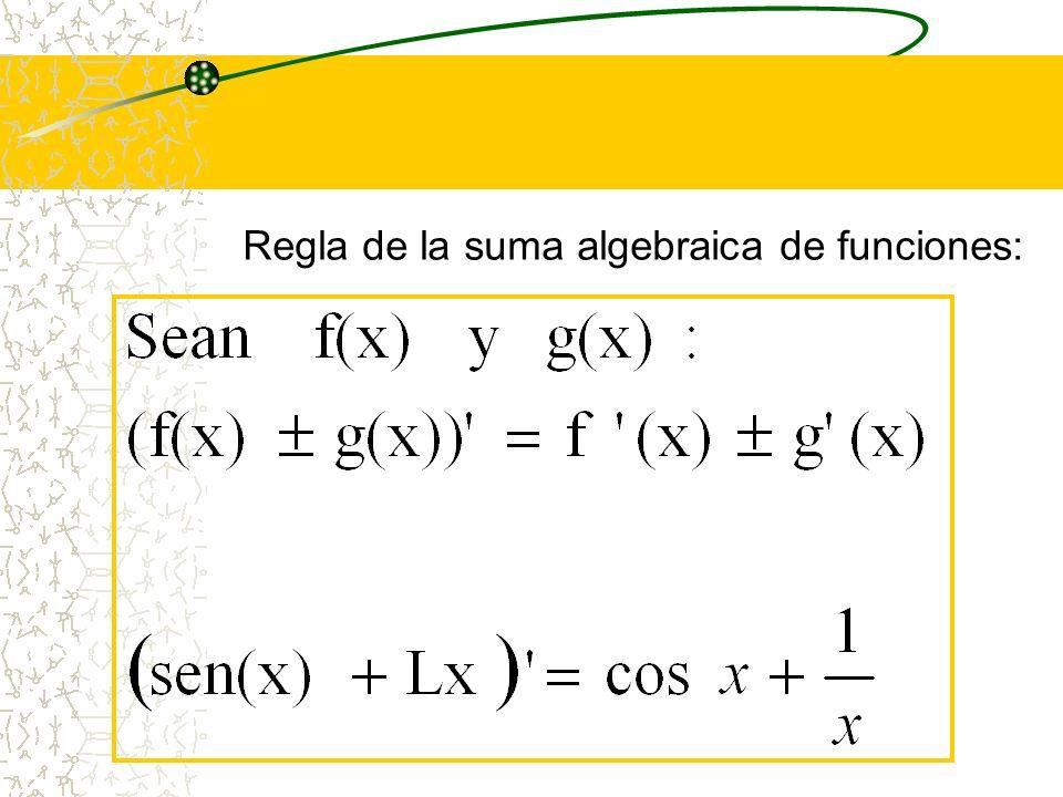 Regla de la suma algebraica de funciones: