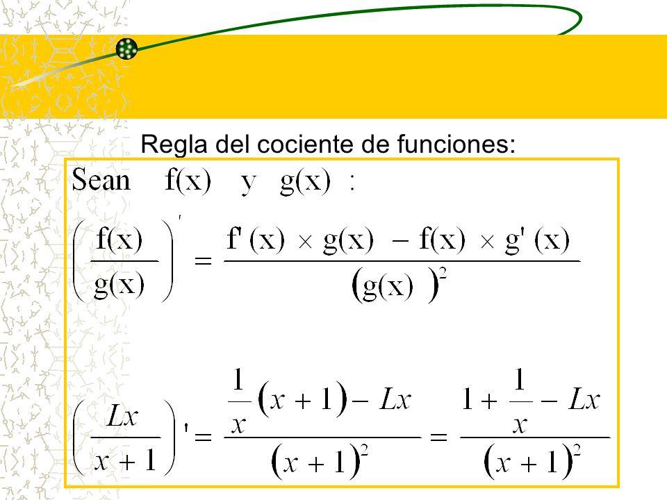 Regla del cociente de funciones: