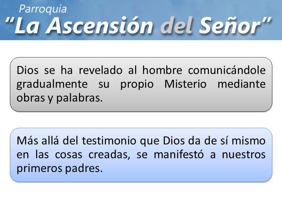 Dios se ha revelado al hombre comunicándole gradualmente su propio Misterio mediante obras y palabras.