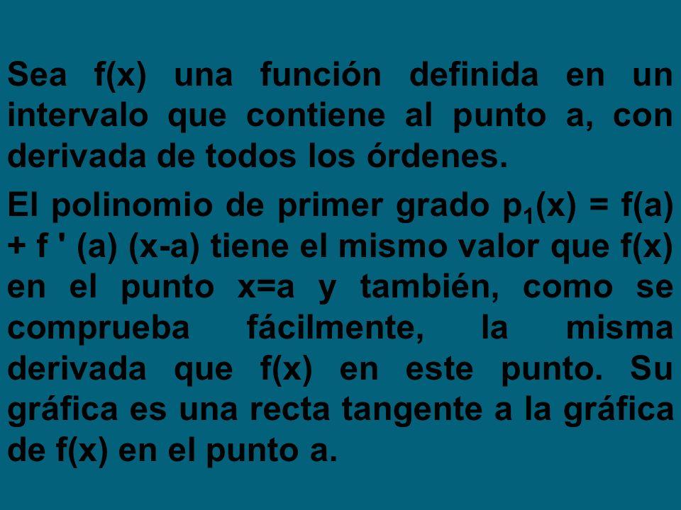 Sea f(x) una función definida en un intervalo que contiene al punto a, con derivada de todos los órdenes.
