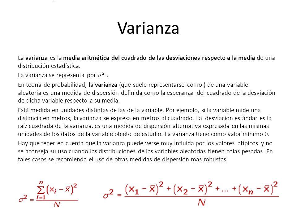 Varianza a varianza se representa por .