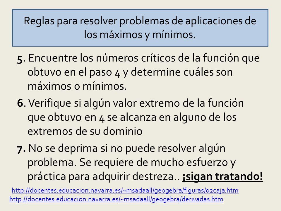 Reglas para resolver problemas de aplicaciones de los máximos y mínimos.