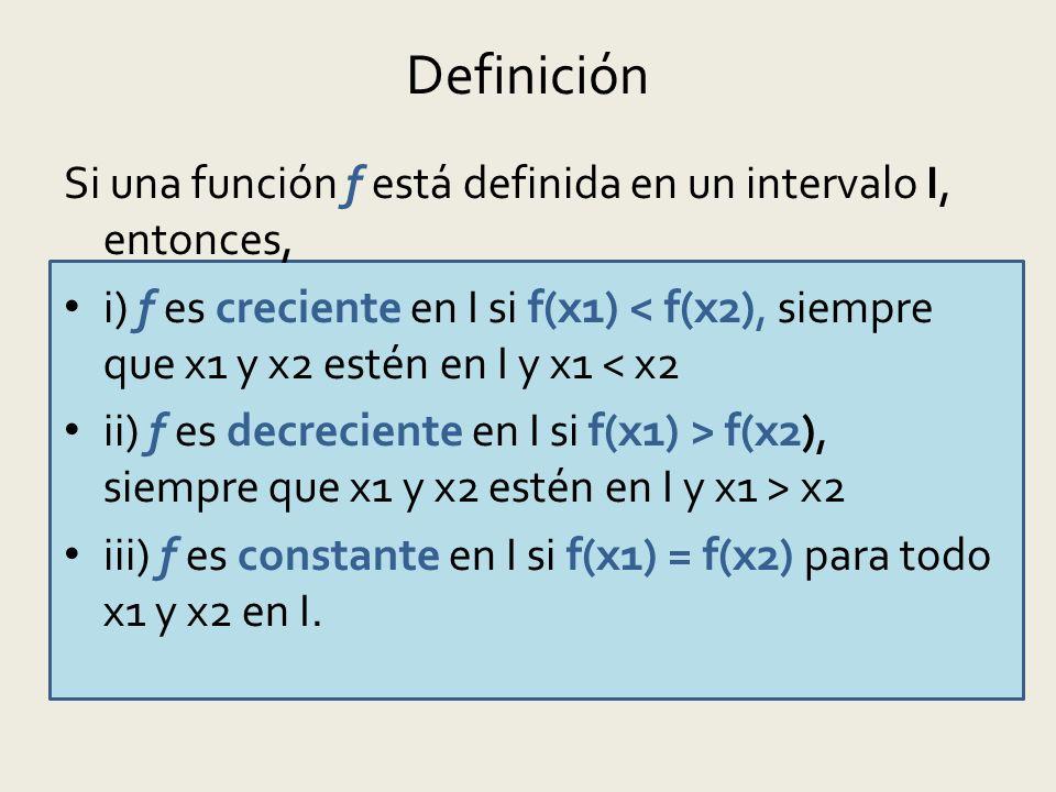 Definición Si una función f está definida en un intervalo I, entonces,