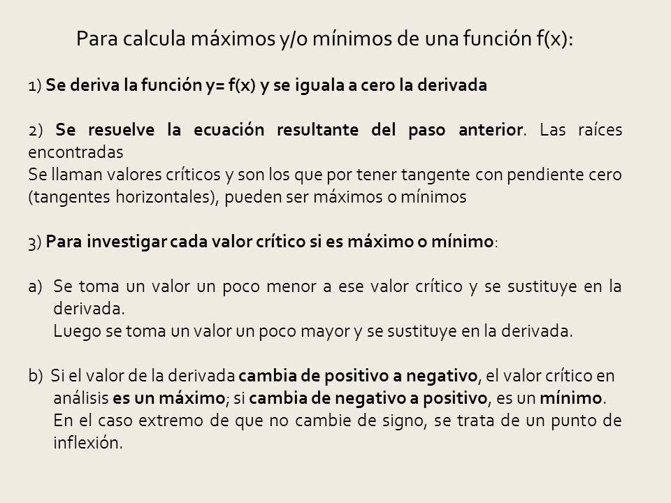Para calcula máximos y/o mínimos de una función f(x):