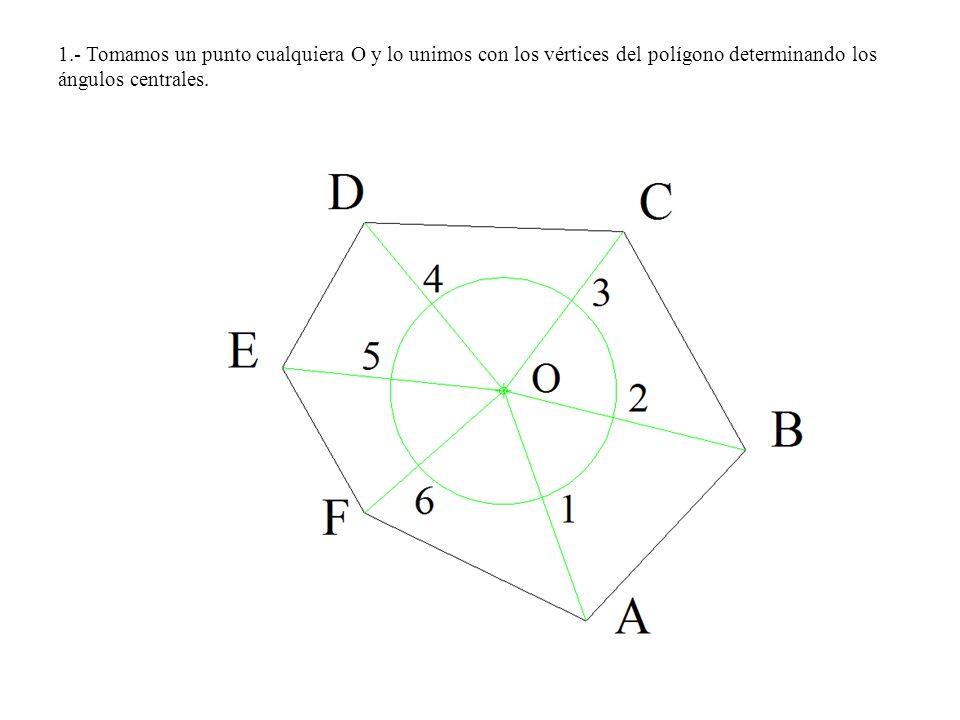 1.- Tomamos un punto cualquiera O y lo unimos con los vértices del polígono determinando los ángulos centrales.