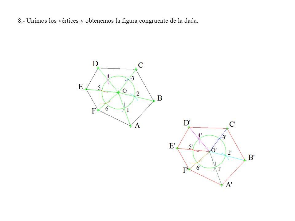 8.- Unimos los vértices y obtenemos la figura congruente de la dada.