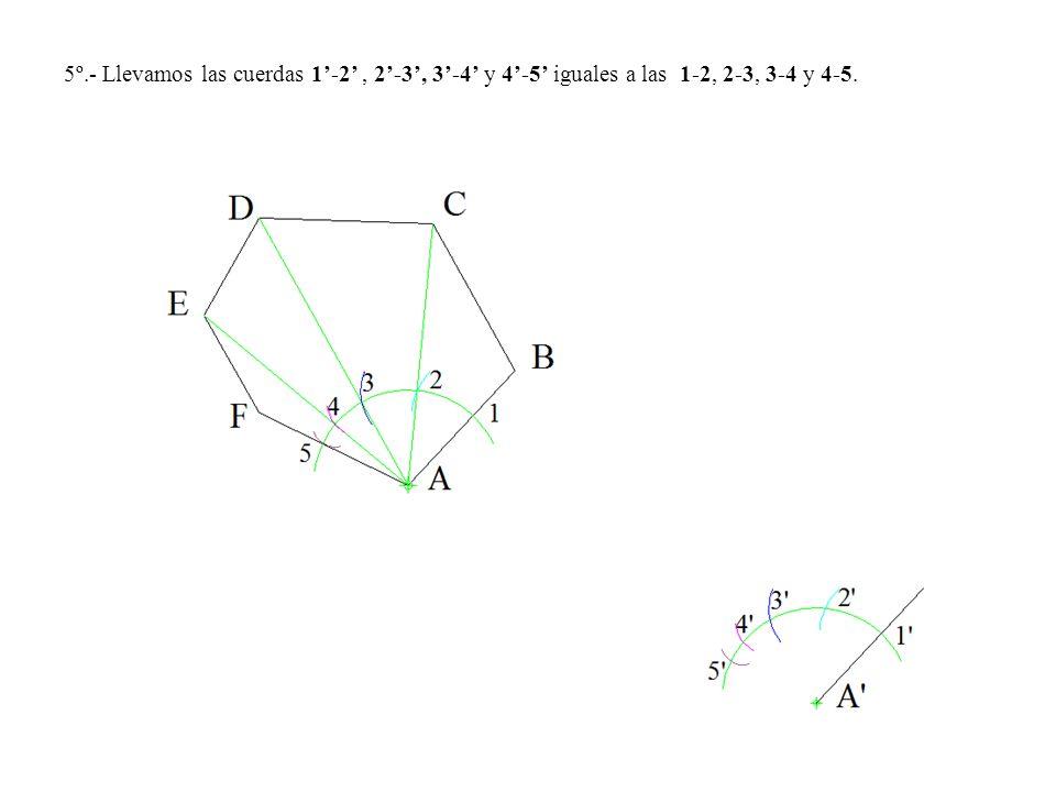 5º.- Llevamos las cuerdas 1'-2' , 2'-3', 3'-4' y 4'-5' iguales a las 1-2, 2-3, 3-4 y 4-5.