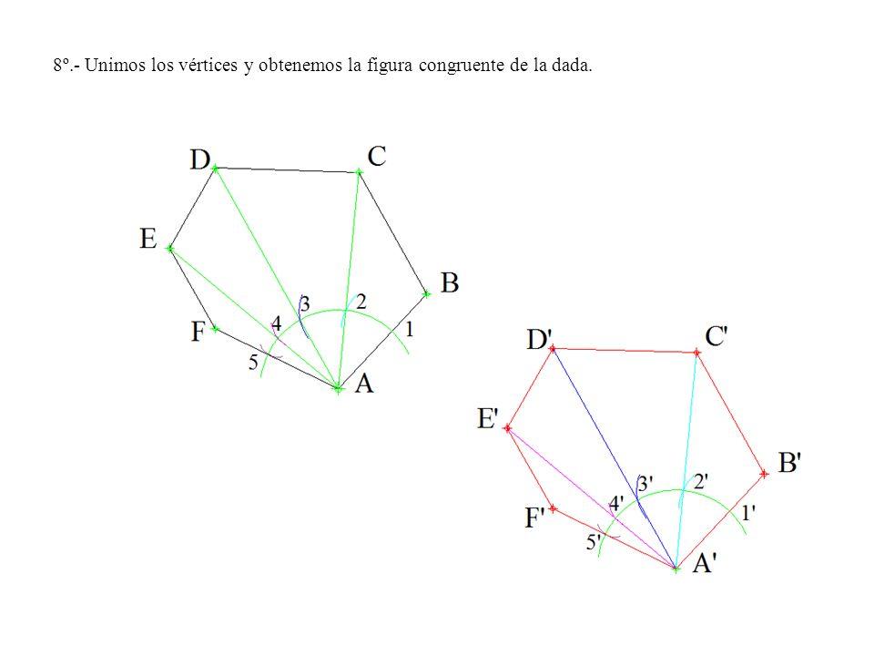 8º.- Unimos los vértices y obtenemos la figura congruente de la dada.