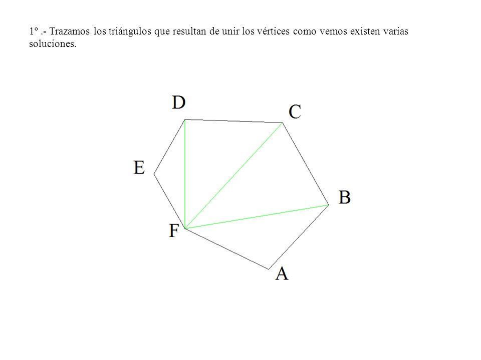 1º .- Trazamos los triángulos que resultan de unir los vértices como vemos existen varias soluciones.