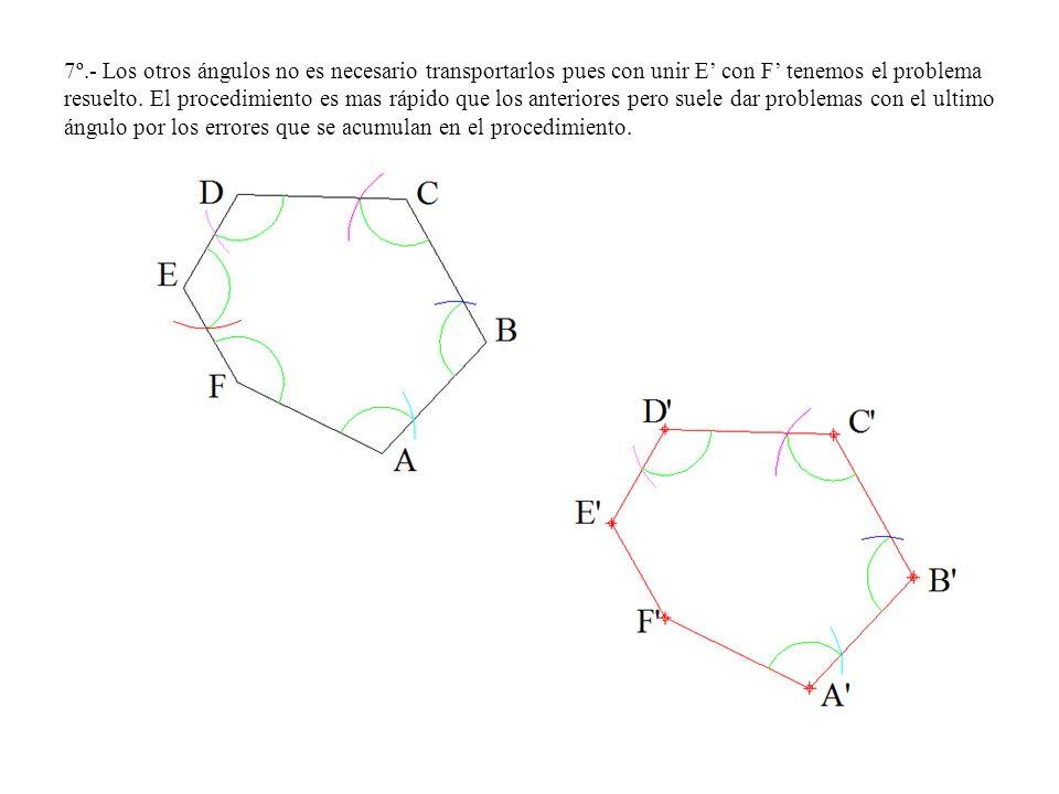 7º.- Los otros ángulos no es necesario transportarlos pues con unir E' con F' tenemos el problema resuelto.